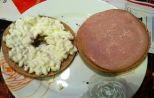 Cottage cheese and turkey bagelwich!